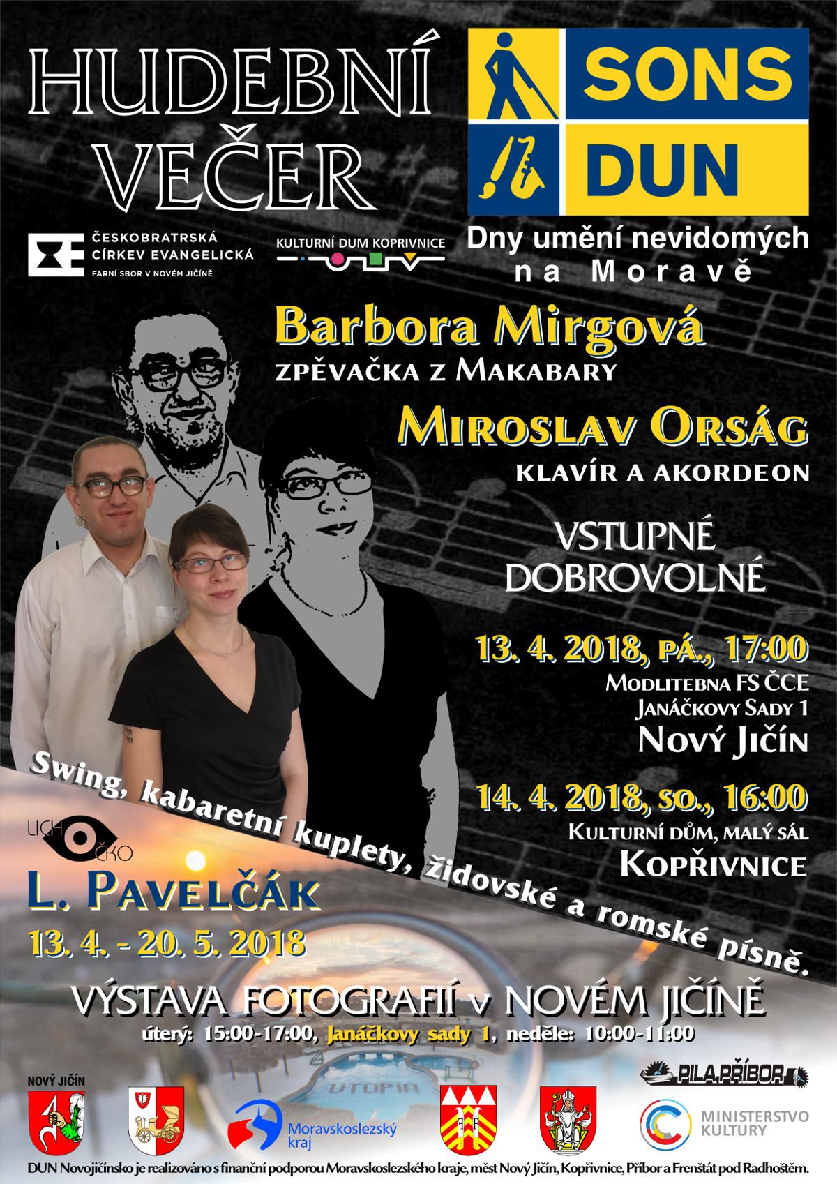 Pozvánka na Hudební večer v Novém Jičíně a Kopřivnici v rámci DUN na Moravě.