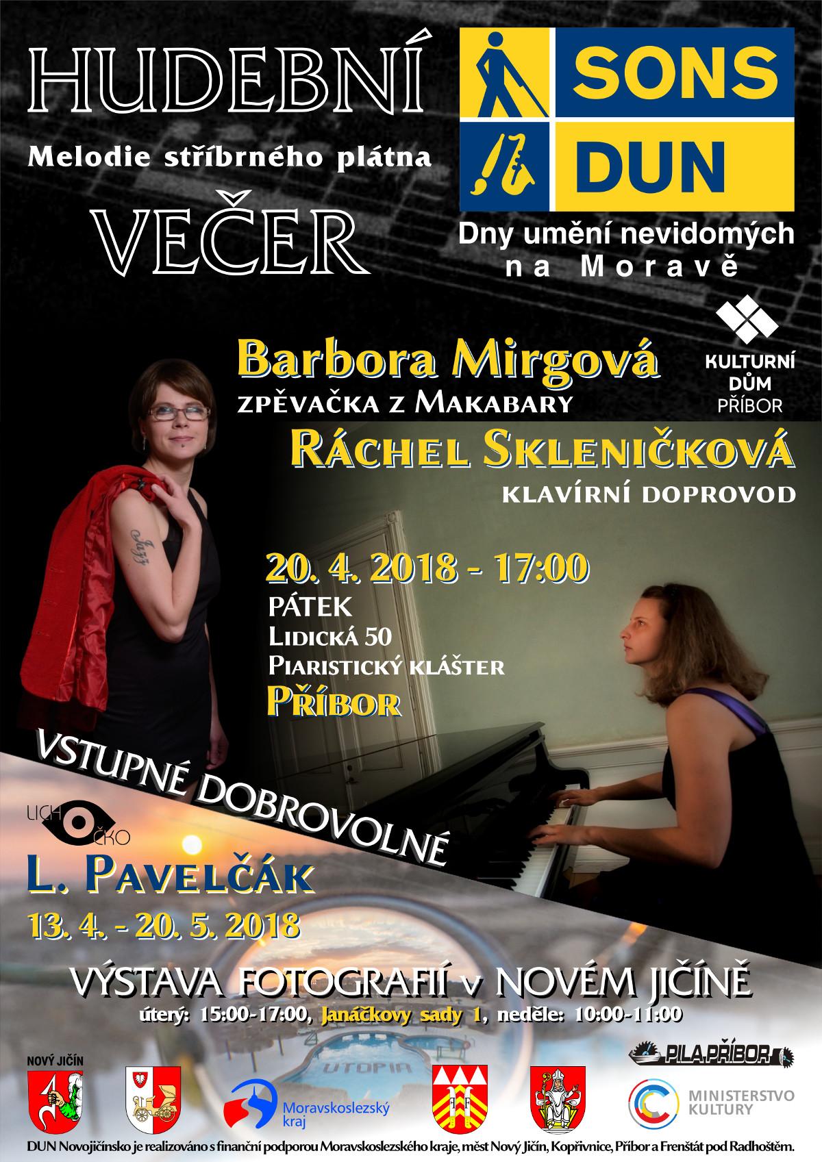 Pozvánka na Hudební večer v Příboře v rámci DUN na Moravě.