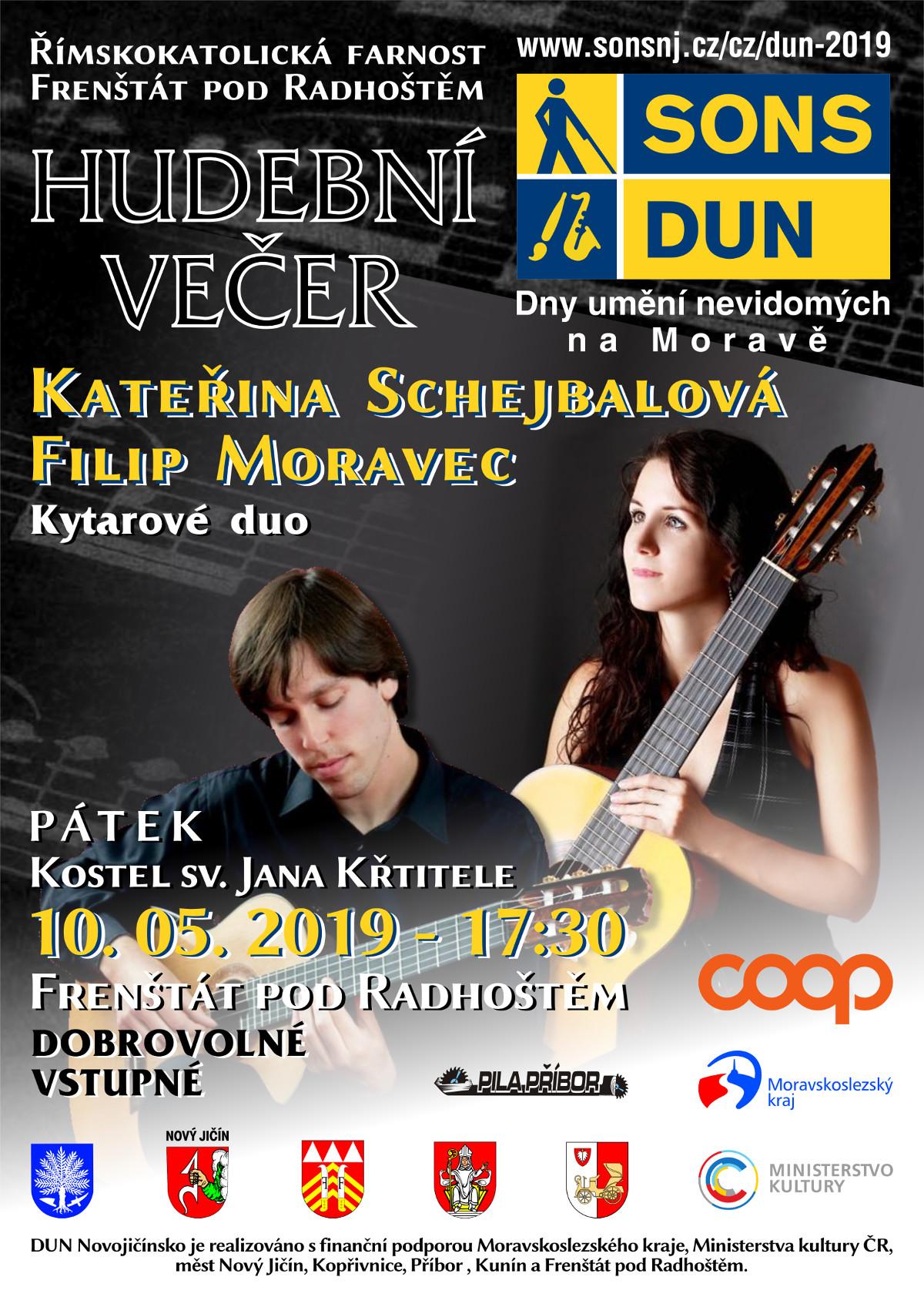 Pozvánka na hudební večer DUN ve Frenštátu pod Radhoštěm.
