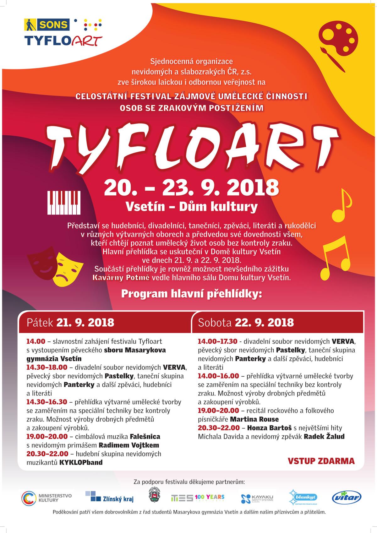 Část pozvánky na festival TyfloArt ve Vsetíně 2018