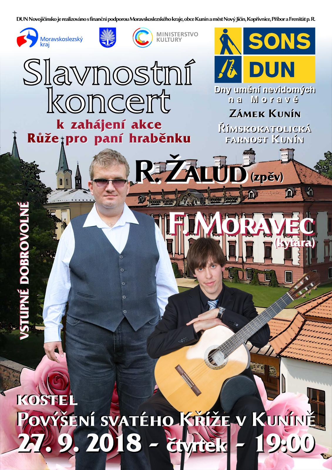 Pozvánka na Slavnostní koncert k zahájení akce Růže pro paní hraběnku v Kuníně v rámci DUN na Moravě.