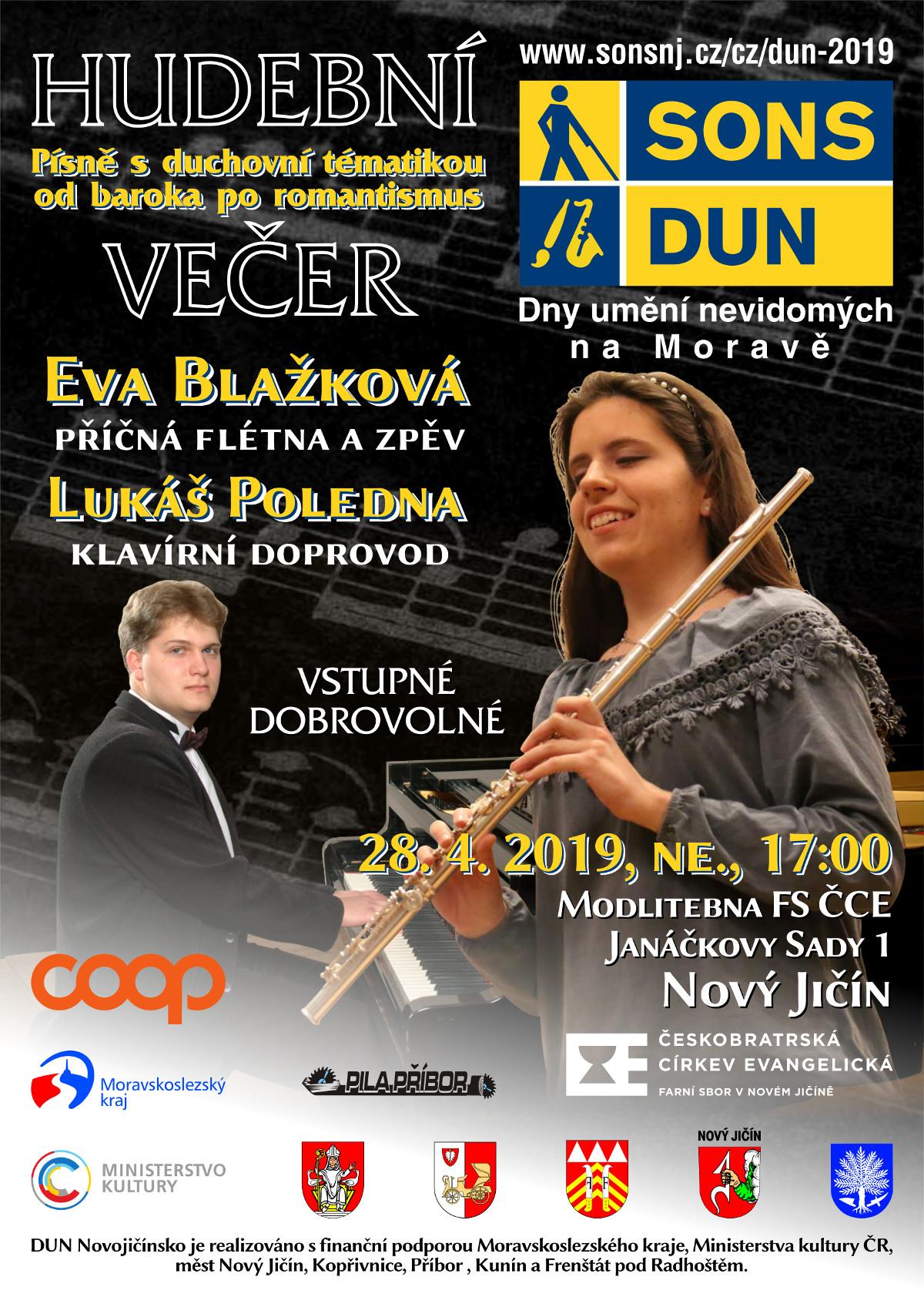 Pozvánka na hudební večer DUN v Novém Jičíně.