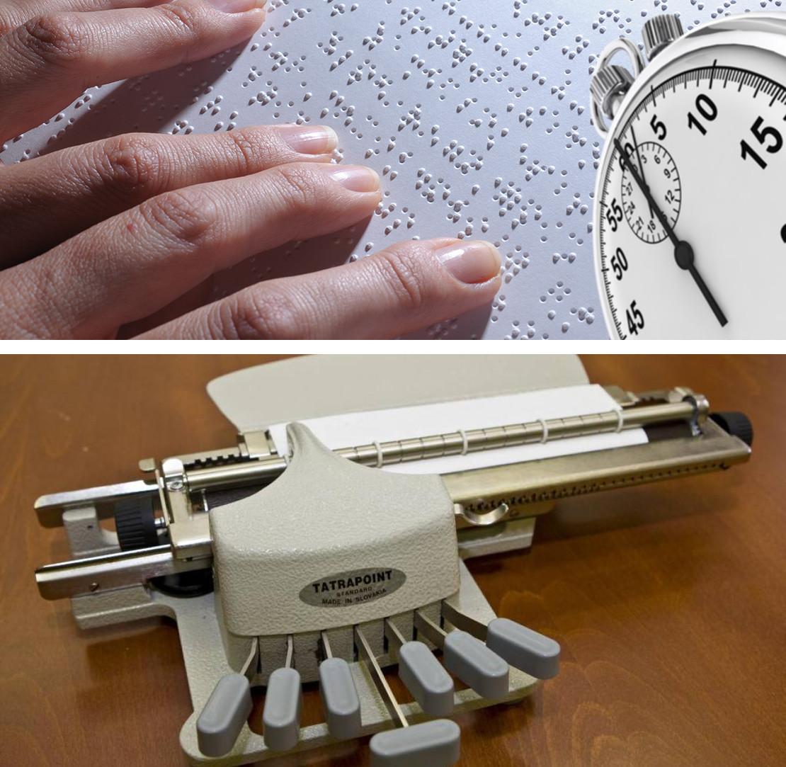 Ilustrativní koláž k Soutěži ve čtení a psaní Braillova písma